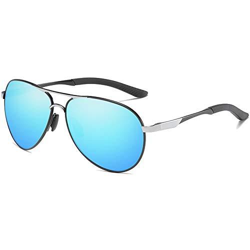 WUJIEXIAN-JXL Gläser Polarisierte Metal Sonnenbrille nachtsichtbrille Silber/blau männer und Frauen mit dem gleichen antrieb Sonnenbrille Sonnenschutz (Farbe : Blue)