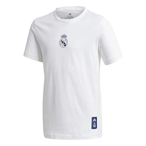 Adidas Real Madrid Saison 2020/21 T-Shirt mit Wappen, offizielles Logo für Kinder XL weiß