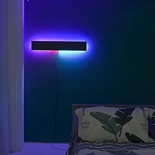 LED Lámpara De Pared Dormitorio Infantil RGB Regulable Con Cable Y Enchufe, Apliques De Pared Noche Interior 80CM Con Mando, Iluminación De Pared Pasillo En Aluminio 24W, Lámpara De Noche,Negro