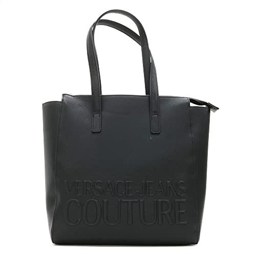 Versace Jeans Couture Bolsa de la compra con logotipo grabado en relieve (color negro – tamaño: uno)