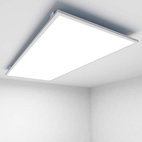 [Premium 125 lm/W]OUBO LED Panel 120x60cm Deckenleuchte 72W 9000 Lumen Warmweiss 3000K Weißrahmen, Einbauleuchten Set 230V, Wandleuchte, inkl. Trafo und Anbauwinkel