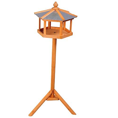 PawHut D3-0006 Vogel/Futterhaus Kanarien Holz mit Ständer und Zinkdach Wasserdicht, natur - 3