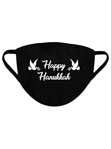 Happy Hanukkah Holiday Hanukkah Dove 100% Cotton Face Mask – Breathable Reusable Washable Cloth Mask for Nose and Mouth – 3-Layer Protective Outdoor Black Fabric Face Mask Dove