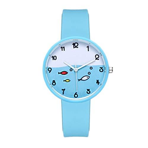Relojes para niños Relojes para niños con patrón de peces de dibujos animados, reloj de movimiento de cuarzo analógico, fácil lector de lector analógico correa de silicona regalo de cumpleaños para ni