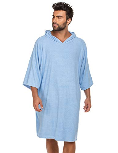 Ekouaer Surf Poncho Changing Robe with Hood   Thick Quick Dry Microfiber Wetsuit Changing Towel for Surfing Beach Swim Outdoor Sports Clear Blue
