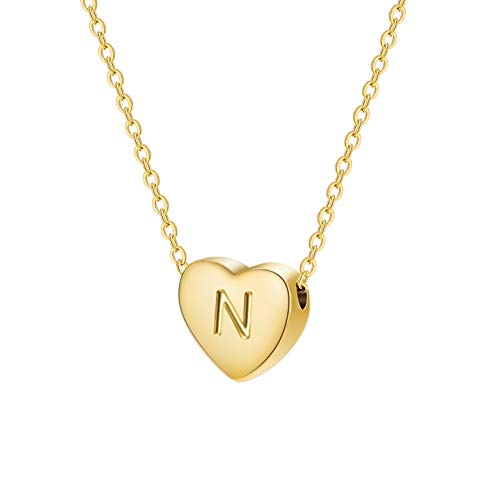 Dainty Heart Initial Necklace Letters N Alphabet Pendant Necklace Small Heart 18K Real Gold Plated Personalized Necklace for Girl Women