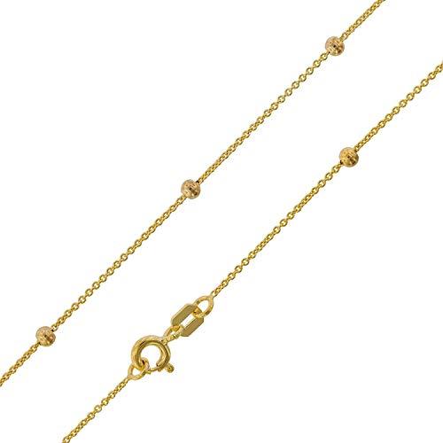trendor Halskette mit Kügelchen Gelbgold 375 (9 Karat) Rundanker goldene Kette für Damen, bezaubernde Geschenkidee, modische Goldkette aus Echtgold, 75198
