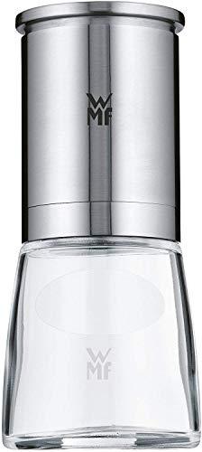 WMF De Luxe Salz und Pfeffermühle, unbefüllt, Cromargan Edelstahl Glas, Keramikmahlwerk, Mühle für Salz, Pfeffer, Chillischoten, H 14 cm
