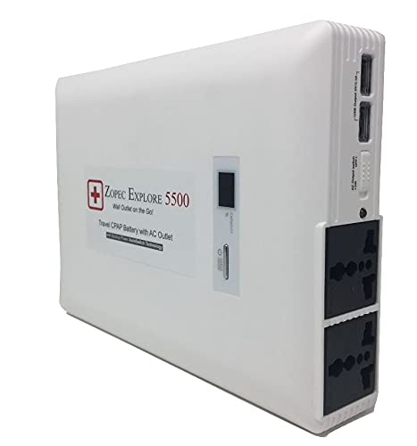 Zopec EXPLORE 5500 Universal CPAP Battery Backup Power Supply (2-3 Nights). Automatic Switch with Uninterrupted Sleep in Power Outage! Works with All CPAP Brands with No Adapters. FAA Compliant.
