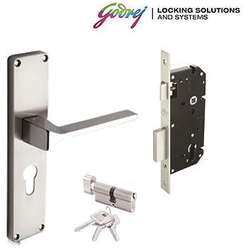 Godrej NEH 16 - 200 mm Door Handle with Lock Set 1CK Satin Steel