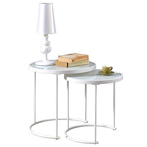 IDIMEX Couchtisch LEYRE im 2er Set,runder Beistelltisch 2-Satztisch mit Glas in weiß, Sofatisch im modernen Design