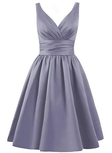 JAEDEN Bridesmaid Dress Short Prom Dresses Gown Satin Evening Party Dress V Neck Bridesmaid Dresses Stormy US22W (Apparel)