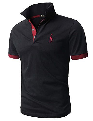 GHYUGR Polo Uomo Basic Manica Corta Tennis Golf T-Shirt Ricami Fulvi Maglietta Poloshirt Camicia,Nero,XXL