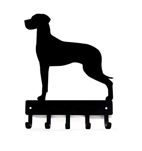 The Metal Peddler Great Dane (Natural Ears) Key Rack Dog Leash Hanger - Large 9 inch Wide - Made in USA