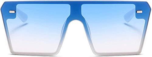 ETCBUYS Flat Top Vrouwen Zonnebril - Oversized Ontwerp Outside Frame Mode Bril - Goede weerstand tegen vervorming Hoogwaardige componenten Textuur Spiegel Been Zonnebril - Blauw