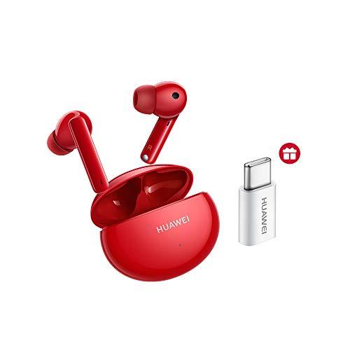 Huawei FreeBuds 4i Bluetooth-Kopfhörer, kabellos, mit aktiver Rauschunterdrückung, schnelles Aufladen, 22 Stunden Laufzeit, Rot