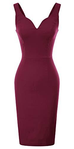 GRACE KARIN Wine Red V Neck Homecoming Pencil Dress M