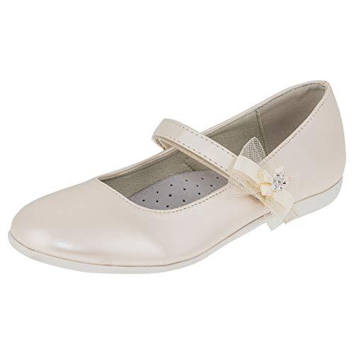 Giardino Doro Edle Festliche Innen Leder Kinder Mädchen Schuhe Ballerinas mit Klettverschluss M524pews2 Perlmutt Weiß 37 EU
