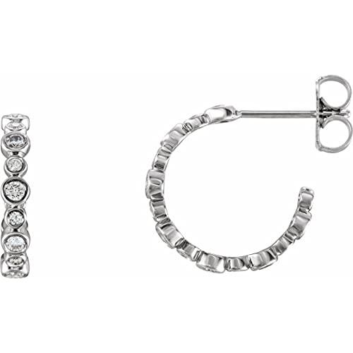 Oro blanco de 14 quilates con diamantes redondos de 0,38 quilates, 13,7 mm I1 G h respaldos de fricción incluidos, pendientes de aro pulidos, joyas de regalo para mujeres