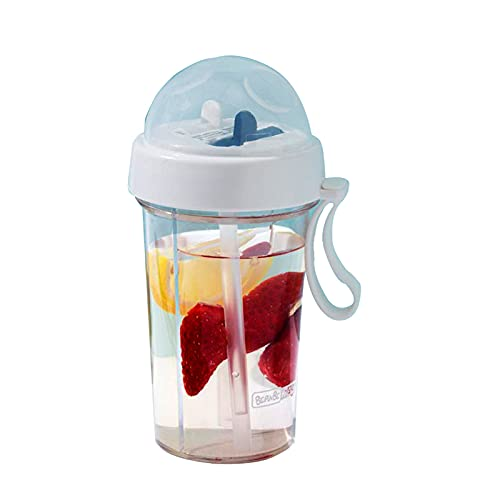 HFDHD Botellas de Agua de Paja Doble Taza de Bebida para Amantes creativos para niñas Botella de Agua de plástico portátil para Deportes