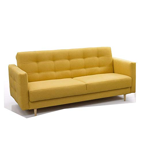 mb-moebel Schlafsofa Kippsofa Sofa mit Schlaffunktion Klappsofa Bettfunktion mit Bettkasten Couch - Scarlett (Gelb)
