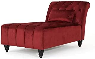 Rabinyod Bulan Large Velvet Chaise Garnet Fainting Couch Red Chez Longue Indoor Lounge Chair