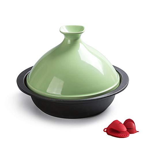 WZYJ 24 cm Bleifreies Kochen Tajine, Tajine Topf Keramik Auflauf Geeignet Für Verschiedene Kochstile Kompatibel Mit Allen Öfen (1,5 L),Grün