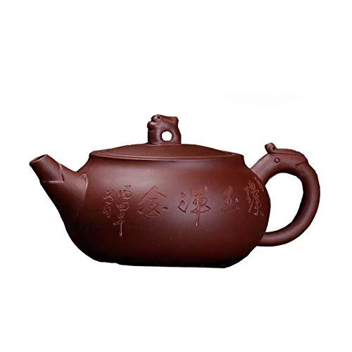 Tetera china Yixing Zisha de 280 ml, color morado y arena pequeña, hecha a mano, juego de té para el hogar