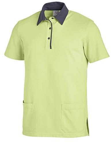 clinicfashion 12812022 Polo-Schlupfhemd hellgrün/grau für Damen und Herren, Mischgewebe, Größe L