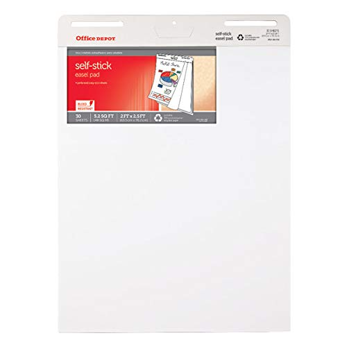 Office Depot 80% Recycled Restickable Easel Pad with Liner, 25in. x 35 1/2in, 30 Sheets, White, FL1219011-001
