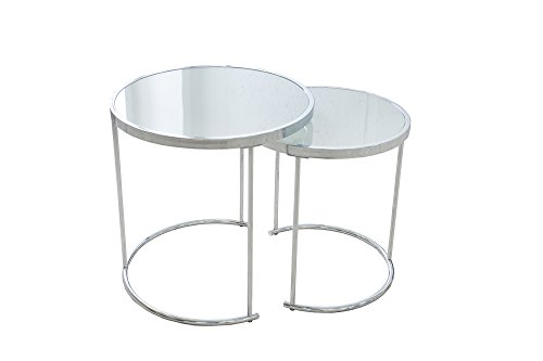 DuNord Design Beistelltisch Couchtisch 2er Set Cannes Chrom/Weiss Art Deco Design Glastisch