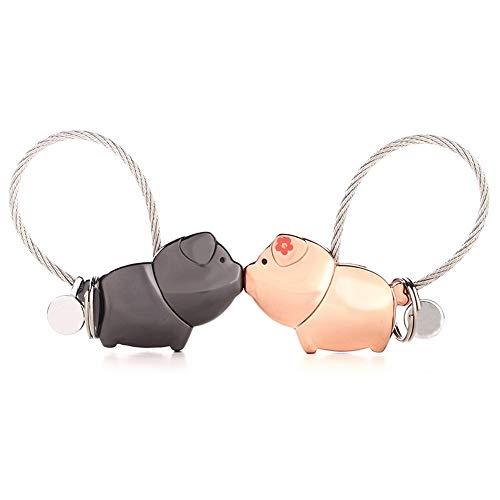 Suker Schlüsselanhänger 1 Paar magnetisches küssendes Schwein Schlüsselring für Paar-Liebhaber Roségold Zink Legierungs Schlüsselring, Schönes Geschenk für Hochzeit,Valentinstag,Geburtstag,Weihnachten