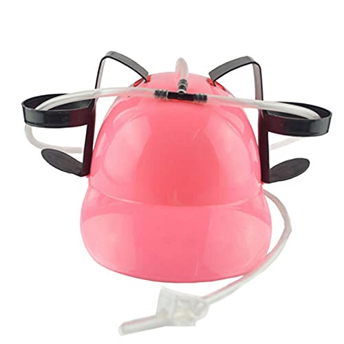 JKLO 2Pcs Lazy Lounge Beer Soda Guzzler Helmet Drinking Hat Birthday Party Cool Unique Toy Handsfree Drink Toy Miner Hat 513 (Color : Pink)