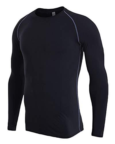 Camiseta De Compresiòn Camiseta Térmica Interior Hombre Manga Larga para Running Fitness Entrenamiento Negro L