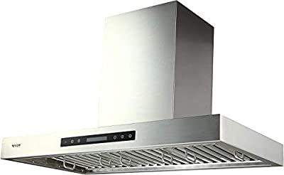 """EKON 900 CFM Range Hood Stainless Steel 36 inch Kitchen Hood Vent With 4 Speeds Touch Panel Control LCD Display and Remote / 2 Pcs 3W Led Lights / 3 Pcs Baffle Filters (NAP01-36"""")"""