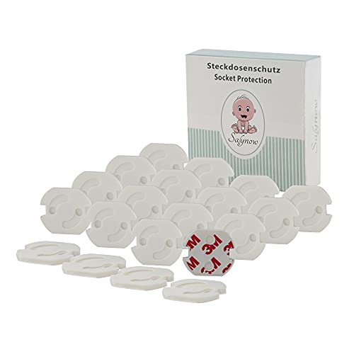 SALYNOW Steckdosen Kindersicherung - [20 Stück] - Steckdosensicherung für Babys und Kleinkinder, Steckdosenschutz plus 10x Ersatzkleber