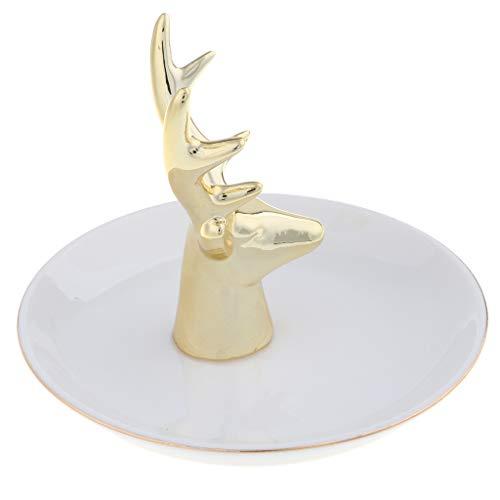 oshhni Placa de Cerámica de La Bandeja de La Placa de La Joyería del Tenedor del Anillo de Bodas para Las Llaves, Blanco Alce Dorado