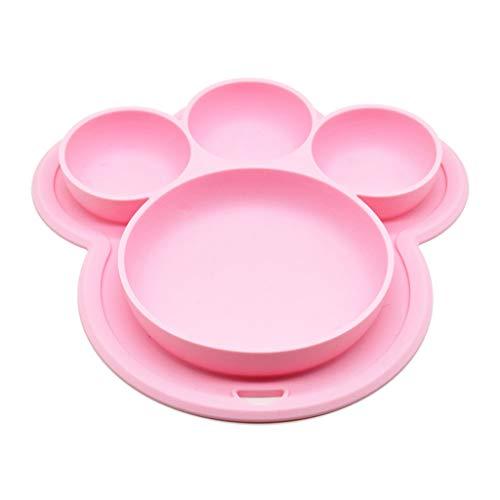 VIccoo Platos de Comida para niños pequeños, Platos Infantiles de Silicona Platos de Comida Vajilla para bebés Bandeja para niños Vajilla para niños pequeños - Rosado