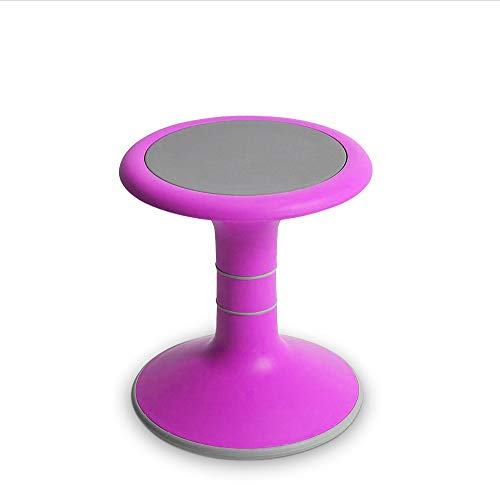 OFFICE LOGIX SHOP Wobble Chair for Kids - Ergonomic Wobble Stool to Encourage Right Posture, Balance & Strengthen Core - School Classroom - Active Kid ADHD Fidget Seat (14' Fixed, Pink)