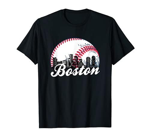 Boston Baseball Skyline - Retro Boston Baseball Cityscape T-Shirt
