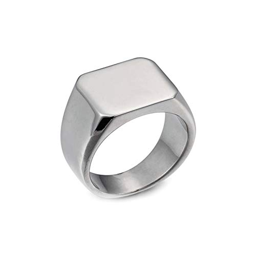 Bishilin Ring Titan Herren Poliert Rechteck Freundschaftsring Männer Ring Vintage Gr.60 (19.1)
