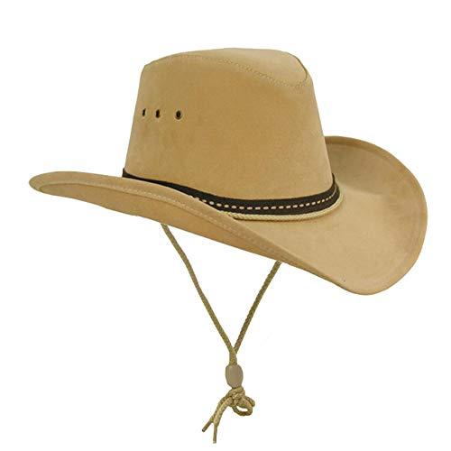 Kakadu Western, Cowboy Linedance Sommerhut mit formbarer Krempe und Kinnband | Herren Damen | Western Style, M, Beige