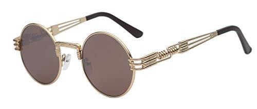 Daawqee Gothic Steampunk Sunglasses Men Women Metal Wrapeyeglasses Round Shades Designer Sun Glasses Mirror High Quality UV400 Gold w brown