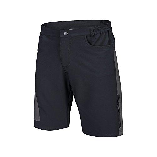 TOMSHOO Pantalones Cortos de Ciclismo Hombres Transpirable para Ciclismo Correr MTB o Deportes al Aire Libre (Negro+Gris, M)