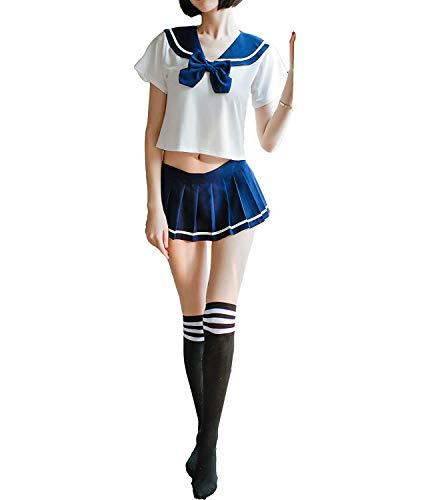 SINROYEE Anime Cosplay Lencería Disfraces Japonés Mini Marinero Traje Mujeres Sexy Colegiales Traje Precioso - azul - Talla única
