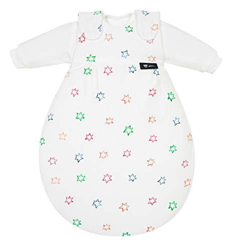 Alvi Baby Mäxchen Original | Babyschlafsack 3-teilig | Alvi Außensack & zwei Innensäcke | Kinderschlafsack mitwachsend & atmungsaktiv, Größe:50/56, Design:Bunter Stern 583-0