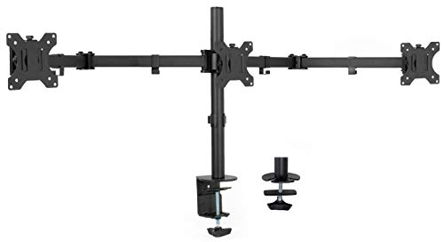 VIVO Black Triple Monitor Adjustable Desk Mount, Articulating Tri Stand Holds 3 Screens up to 24 inches STAND-V003Y