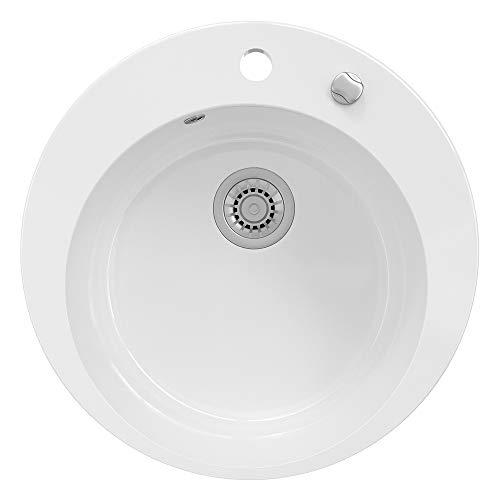 BERGSTRÖM Keramik Spüle VALENCIA beschichtet Küchenspüle Einbauspüle Spülbecken Weiß