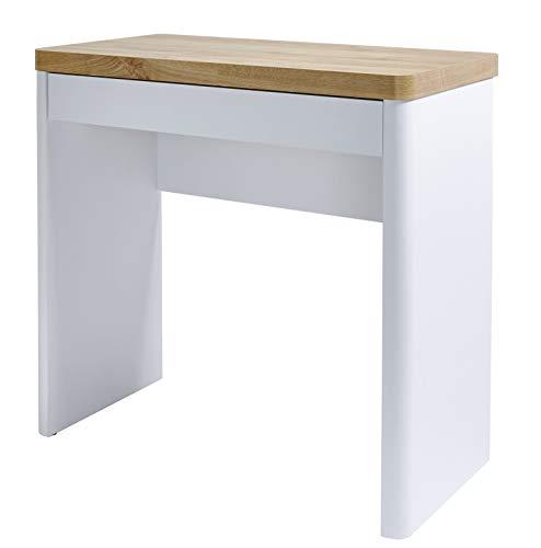 Amazon Marke -Movian Aulne - Kompaktschreibtisch mit 1 Schublade, 79x44x76cm, Weiß/Eichen-Effekt