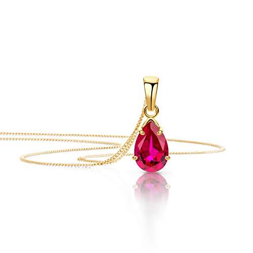 Orovi Schmuck Damen Halskette mit Tropfen Anhänger Edelstein/Geburtsstein Rubin in Rot Kette aus Gelbgold 9 Karat / 375 Gold